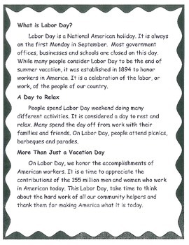 Labor Day Community Helpers Thematic Unit for Primary
