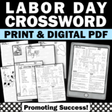 Back to School Labor Day Activities Vocabulary Crossword Puzzle & Writing Papers