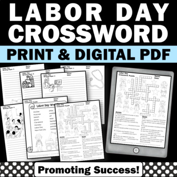 Labor Day Crossword Puzzle Worksheet and Writing Paper