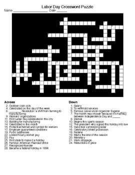 Labor Day Crossword & Word Search with KEYS