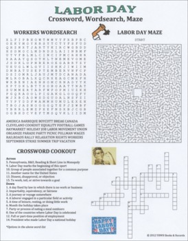 graphic relating to Labor Day Word Search Printable known as Labor Working day Crossword Wordsearch Maze