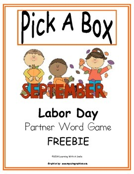 Labor Day Freebie ~ Pick A Box ~ Partner Game