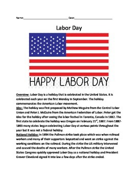 Labor Day - History Informational Article Lesson questions facts vocabulary