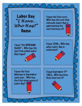 Labor Day Game Activity- I Have...Who Has Game