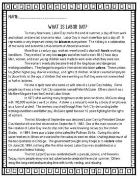 Labor Day- Informational Text Reading