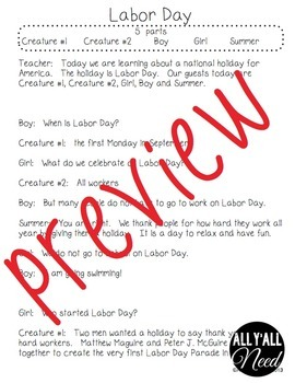 Labor Day Informative Reader's Theater