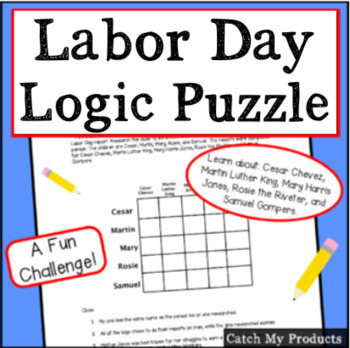 Labor Day Logic Puzzle for Gifted and Talented or Bright Students