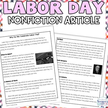 Labor Day Nonfiction Reading Comprehension Article and Activity