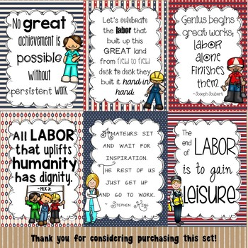 Labor Day Poster Set for the Classroom