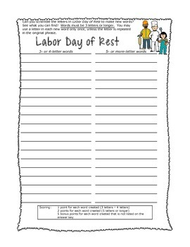 Labor Day Letter Scramble Puzzle Packet with Key