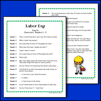 Labor Day Readers Theater Script, Reading & Activity Packet