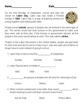 Labor Day Reading Comprehension 1-3rd Grade