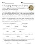 Labor Day Reading Comprehension 1-3rd Grade