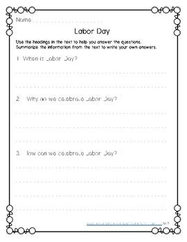 Labor Day Reading Comprehension