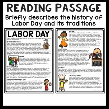 Labor Day Reading Comprehension Worksheet, September, Back to School