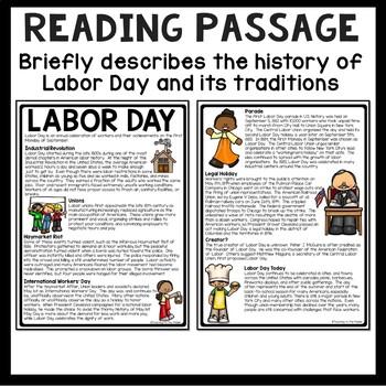 Labor Day Reading Comprehension Worksheet, September, Back to School