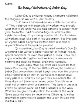 Labor Day Reading Passage