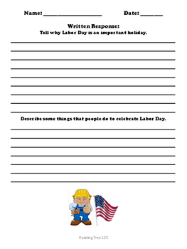 Labor Day Reading Passage and Activities Gr. 2-3