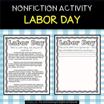 Labor Day - Reading Passage and Activity
