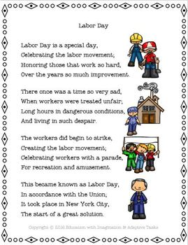 Labor Day Rhyme and Task Bundle