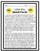 Labor Day Seat Work/ Bell Work or Homework Reading Comprehension