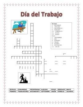 Labor Day -Spanish Word Search & Criss Cross Puzzle- BONUS:Las Profesiones