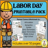 Labor Day Speech Therapy Printable Pack for Speech & Langu