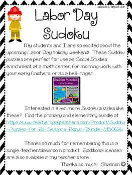 Labor Day Sudoku Puzzles