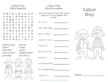 Labor Day Reading Comprehension Trifold