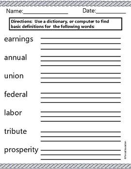 Labor Day Vocabulary Building through language skills