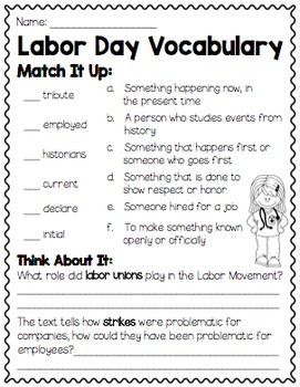 Labor Day Vocabulary Mini Book for BIG KIDS