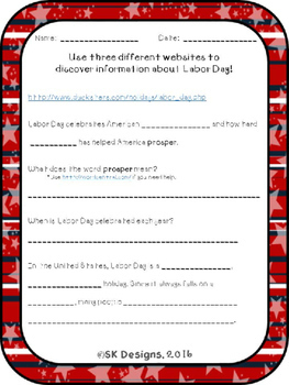 Labor Day WebQuest - Engaging Internet Activity {Includes Google Slides option}