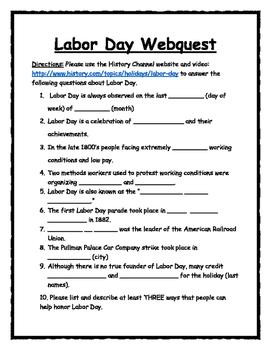 Labor Day Webquest