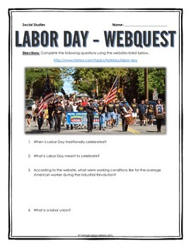 Labor Day - Webquest with Key