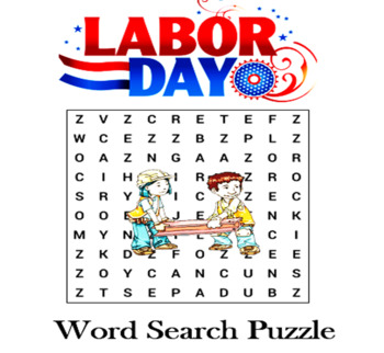Labor Day Word Search Puzzle