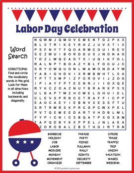 It's just an image of Fabulous Labor Day Word Search Printable