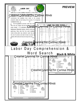 Labor Day Word Search Puzzle_black & white
