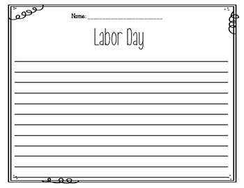 Labor Day Writing Prompts FREEBIE
