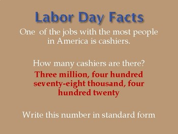 Labor Day and Math Place Value to the Millions