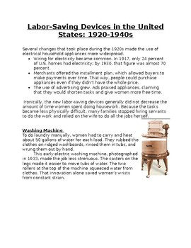 Labor-Saving Devices in the United States: 1920-1940s Worksheet