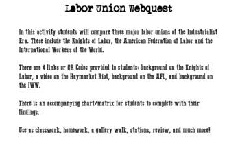 Labor Union Webquest