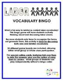 Labor Unions Vocabulary Bingo