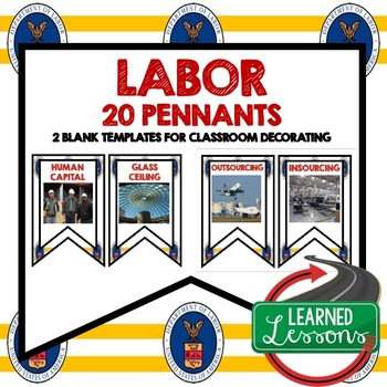 Labor Word Wall Pennants (Economics and Free Enterprise)