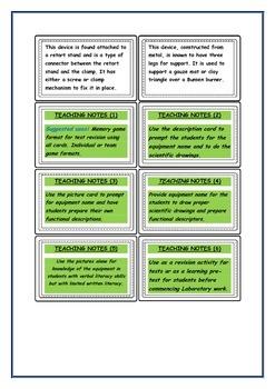 Laboratory Equipment Match cards