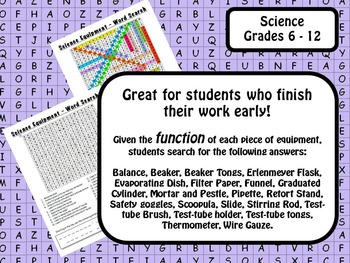 Laboratory Equipment & Science Tools: Lab Equipment Word Search