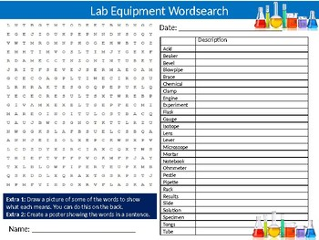 Laboratory Equipment Wordsearch Puzzle Sheet Keywords Activity Science