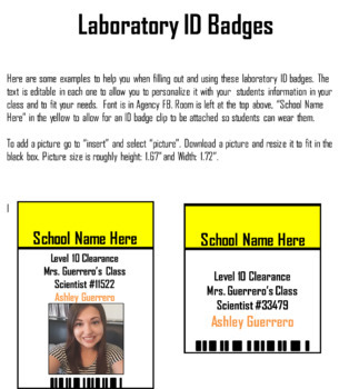 lab id badges by the primary years are golden teachers pay teachers