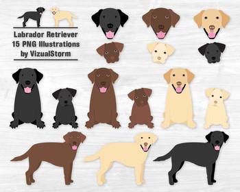 Labrador Retriever Clipart - Black Lab, Chocolate Lab, Yellow Lab Dogs & Puppies