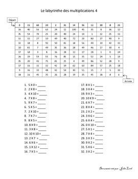 Labyrinthe des multiplications 4