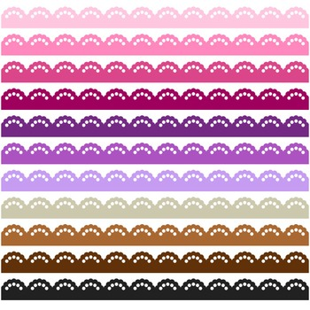 Lace Border Clipart - 22 digital lace borders / 11x1 inches - A00122